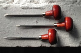 Tools used in hand engraving steel dies for social stationery.