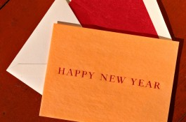 French folded vintage onion skin Happy New Year card.
