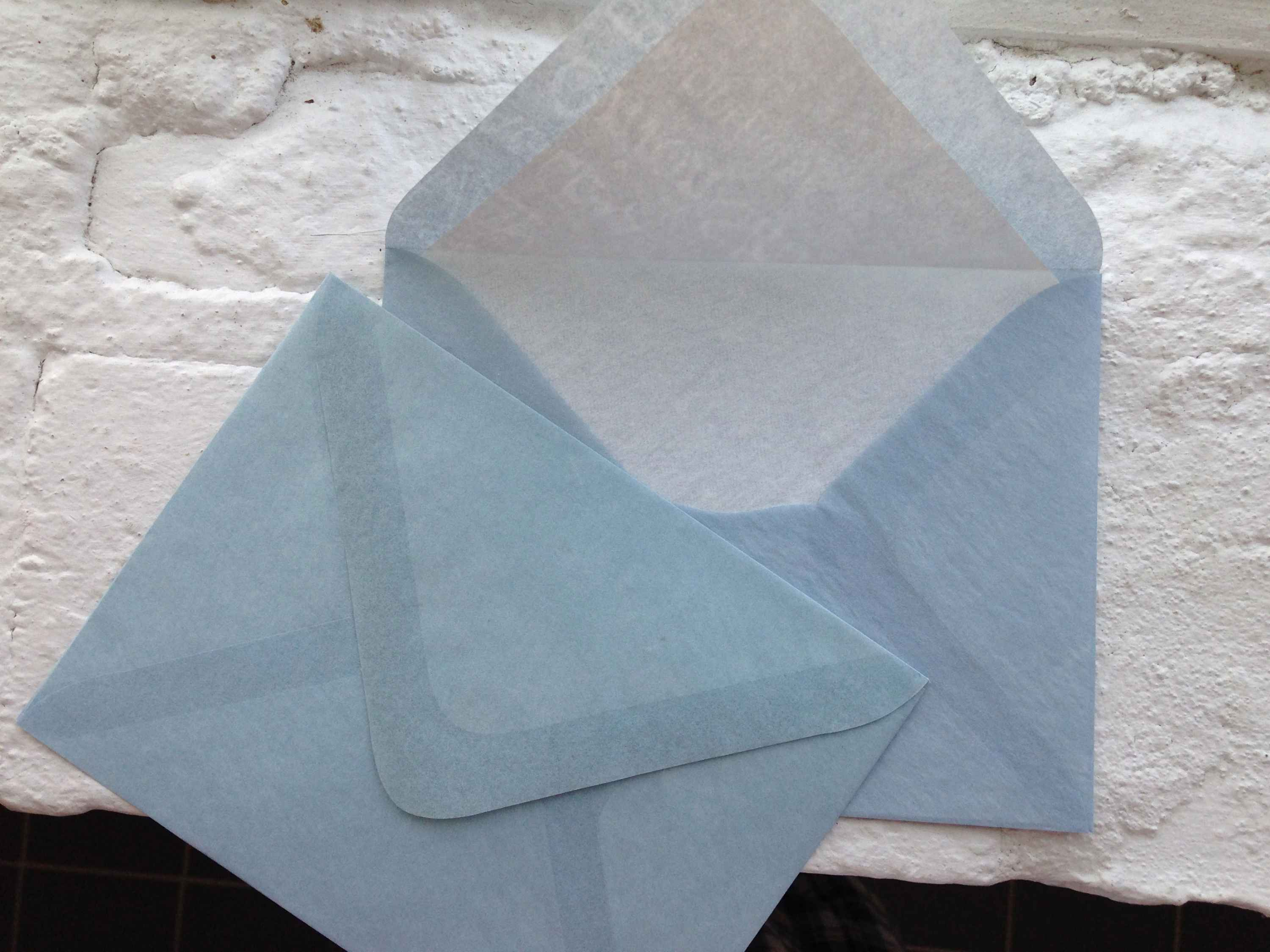 Hand made, fully lined onion skin envelopes exclusive to Nancy Sharon Collins, Stationer.
