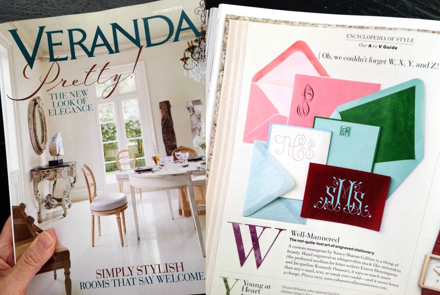See page 76 of Veranda magazine: Hand engraved stationery by Nancy Sharon Collins.
