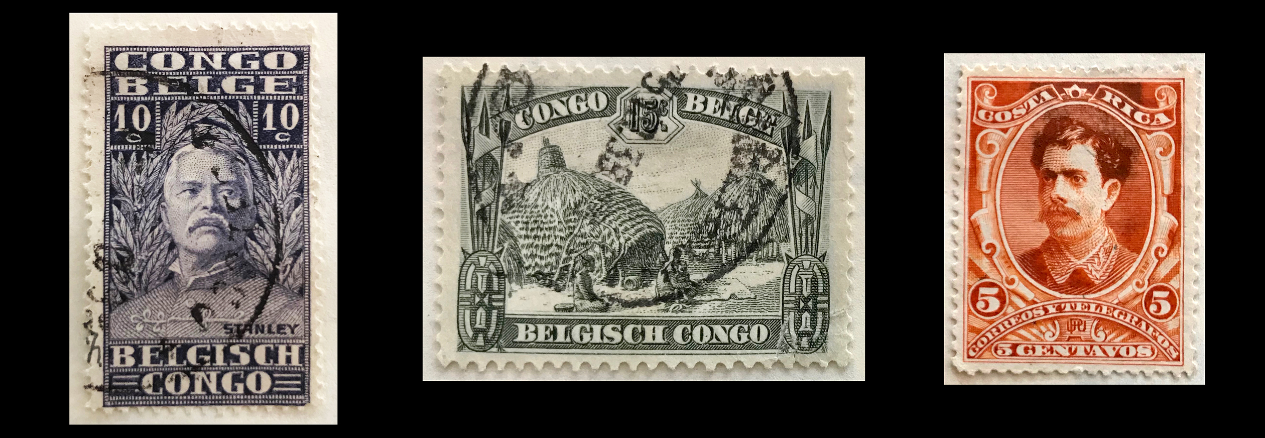 Postage stamps were once engraved in the banknote style, here are three examples: (Left) Sir Henry Morton Stanley famous for his central Africa missionary and explorer David Livingstone. (Middle) 1931 – Kivu kraal, Belgian Congo. (Right) Ca. 1889, Costa Rica, Ramón Bernardo Soto Alfaro.