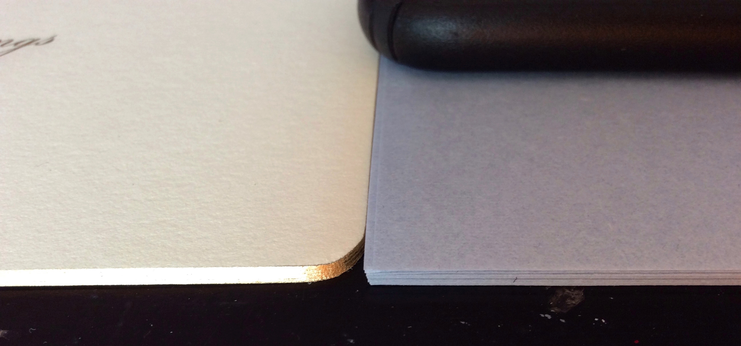 Thick and thin paper.