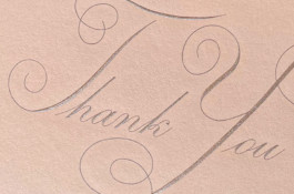 "Detail of hand engraved ""Thank You"""